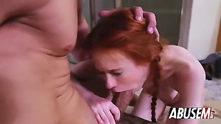 skinny redhead dolly little slammed hard by big cocked guy