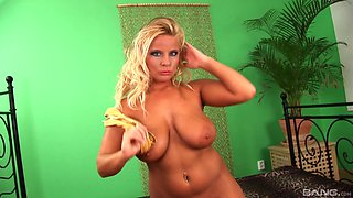 Oiled up blonde Lucy Love cannot resist a huge dong