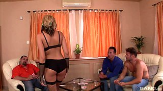 Gangbang game with stunning blonde goddess Dona Bell