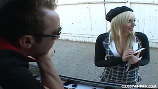 Filthy chick in short skirt Kylee Reese gets fucked for ice cream