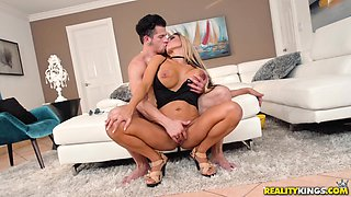 Horny MILF Tegan James is curious about a hunk's monster dong