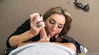 Big titted lady boss sucks massive dick of muscular worker