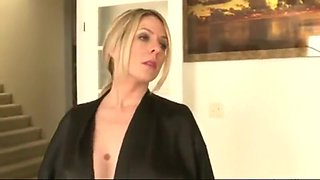 Blonde stepmom visits stepson in bed
