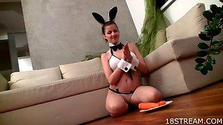 horny teen masturbates in a bunny costume