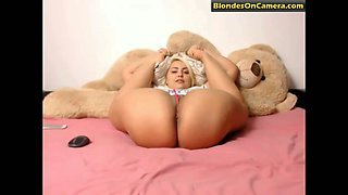 Flexible blonde woman