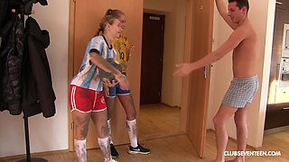 Young Tiffany Tatum and her friend take turns at riding a cock