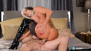 Latex misstress mature big fake tits and young cock sally d angelo