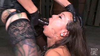 Cruel mistress makes use of strapon to punish Asian whore Kalina Ryu