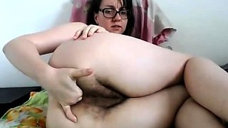 Brunette nerd with glasses and hairy bush fingers ass