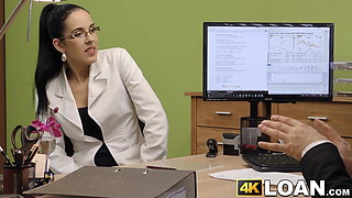 Glasses clad babe pussy fucked relentlessly with big cock