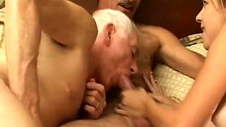 Grandpa s bisexual fun with younger couple