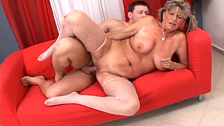 Hungarian Granny pounded hard on the couch