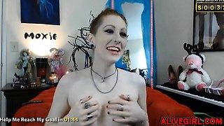 FoxyMoxie with pierced nipples fucks skinny ass ALIVEGIRL