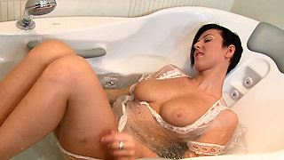 Astonishing brunette bitch Emylia Argent pleases herself in the bath