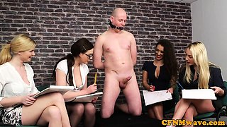 European cfnm babes wanking and drawing cock