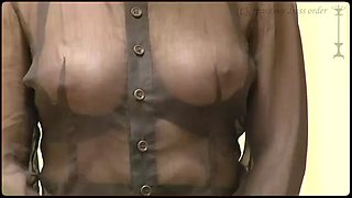 mature woman flashes her tits in public - fishnet top
