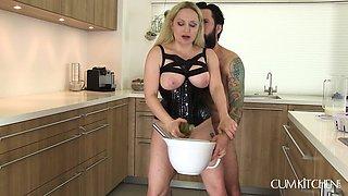 seducing milf blonde fucks her sex slave in the kitchen