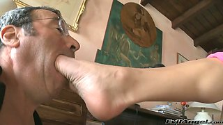 This busty chick is a rare slut and she loves having her feet worshiped