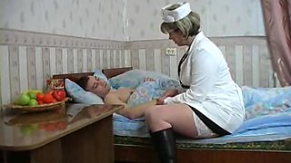 Hot nurse Julia bends over for a great sex session with a patient