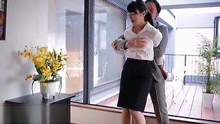 Japanese wife cheats husband with his boss