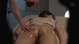 Oiled up chick's pussy fucked well by an insatiable lover