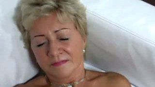 Mature blonde amateur lady from Czech Republic has fine breasts