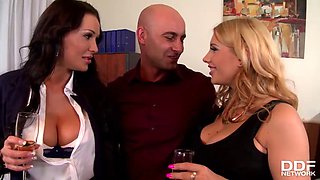horny ladies fuck their boss on a private party