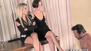 Hawt female domination show as girl makes paramour lick feet
