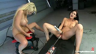 hot lesbian fun among hotties in a fucking machines scene