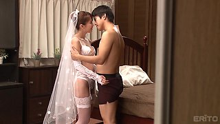 Horny Japanese bride is curious about a hunk's pulsating prick