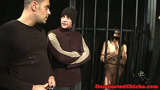 Restrained babe disciplined and spitroasted