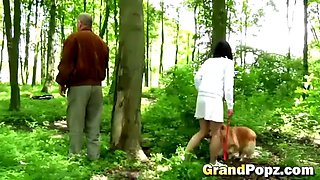 hot oral sex with a nasty teen and horny grandpa outdoors