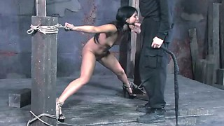 Leggy chick Jade is punished and face fucked