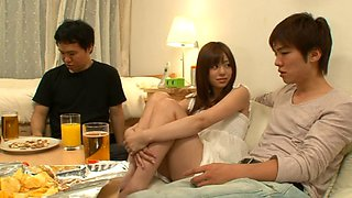 Cute Asian sweetie enjoys riding hard on throbbing meat poles