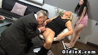 Beautiful young maid fucks rich senior couple in threesome