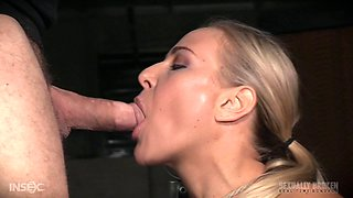 Slutty blonde stunner gets bound and sucks on two big cocks