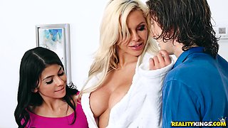 Milf next door Nina Elle in a threesome with another seductress