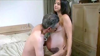 Pregnant daughter loves her daddy while mom not home