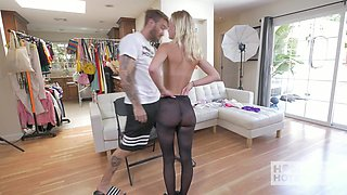 Skinny blond head Kenzie Kai has to try on various stuff before porn making