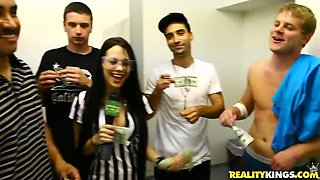 One Girl Masturbates for Money While a Blonde and Brunette Fuck for Cash