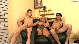 Horny young stallions seduce and fuck an experienced grandma