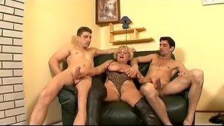 Horny young stallions seduce and fuck an experienced grandma
