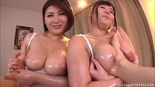 Two smoking hot babes like to jerk a big stiff dick together
