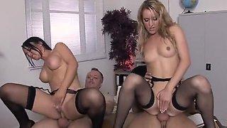 Bobbi Eden & Claudia Adams Black Stockings Foursome