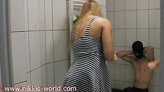 Princess Nikki and Amirah Adara pissing on toilet slave
