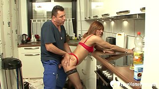 Skinny babe in red lingerie fucked in kitchen