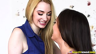 Ashly Anderson and Ivy Jones get naked for a lesbian sex game