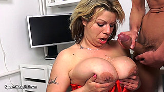 busty MILF doctor Silvy Vee With another patient