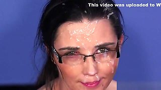Flirty Looker Gets Jizz Shot On Her Face Swallowing All The