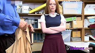Redhead ella gets her mouth and cunt stuffed by mall cop with a big cock